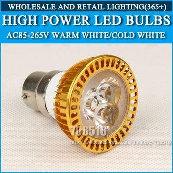 High power led spotlight 3W Cold white/warm white AC85-265V B22 Free Shipping