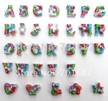 8mm Mix Color A-Z Bowknot Wholesale 1300pcs Slide letters Charm DIY Accessories fit wristband or pet collar