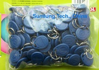 100pcs/lot RFID 125KHz Proximity ID Token with Chain Key Tags Bluen Keyfobs IN STOCK Printed Unique ID Serial Number