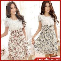 Fresh Garden wind Summer New Korean lady fashion princess dresses Slim lace pleated Dress Floral Chiffon Dress for women SWS088