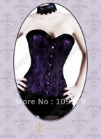 Free Shipping! Three Layer Sexy Purple Overbust Corsets Black Lace Corset Tops