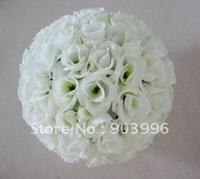 off-white rose ball wedding plastic inner decoration wedding flower ball-30cm kissing ball