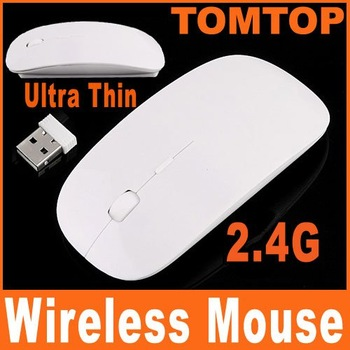 2.4G Wireless Ultra-Thin Optical Mouse White for Laptop Notebook C1119 Free shipping 10pcs/lot Wholesale