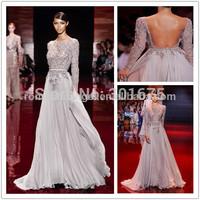 High Quality OEM Factory Long Sleeve Backless Crystal Flowing Chiffon Elie Saab Evening Dress