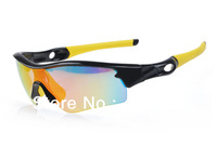 Hots  Black/yellow Radar Sunglasses Men's Sport Sunglasses TR90 Frame Fire Iridium lens UV400 Protection Changeable lens 5 lens