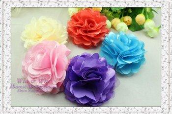 FREE SHIPPING girl 5 color satin flower hairclip lady net yarn flower hairgrip girl hairpin hair tie head flower barrette BF1010