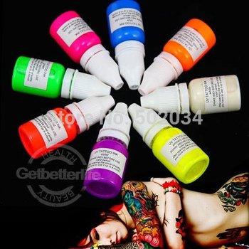 EMS freeshipping WIZARD BLACKLIGHT UV Tattoo Glow Ink pigment set 8 colors 1/4oz(7.5ml) for beginner tattoo kit supplies