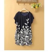 2014 HIGH Quality NEW Fashion Printing Ice Silk Lady Pretty Dress S M L XL XXL XXXL 4xl 5xl women dress wholesaler dropship
