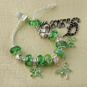 2013 горячее надувательство шарма бабочки Strand браслет для женщин с зеленым бисер ...