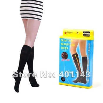 free shipping closed foot Germanium Titanium Slim Beauty Calf massager Socks A-69