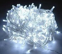 10 pcs White 100 LED String Decoration Light 10M for Christmas Party Wedding 110V With 8 Display Modes, Free Shipping