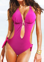 Sexy New pink wow SU0001PK One Piece MONOKINI padded  ladies bikini swimwear SWIMSUIT size M-3XL  Free shipping