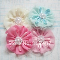 24pcs/lot 7cm chiffon flower with pearl silk flower 4 colors can be mix hand-made flower