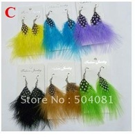 Mix more than 60 styles Fashion handmade lady women bird feather Earrings Natural New Design cute drop Jewelery colorful earring