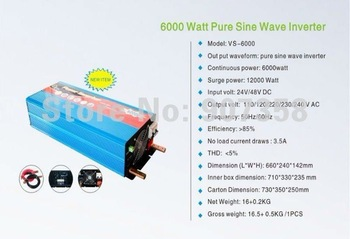 Free shipping! 6000W/5KW 48Vdc to 220V ac Pure Sine Wave Power Inverter (10kw/10000w peak power)