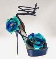 2012 Newest Luxury Blue Flower Wedding Sandals/Ankle-Wrap Bridal Platform High Heel Shoes Pumps/34-41/Free Drop Shipping!GF192
