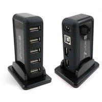 Free Shipping New 100% Sale Cheap Fashion 1 Pcs 7 Port USB 2.0 High Speed HUB + AC Power Adapter Black