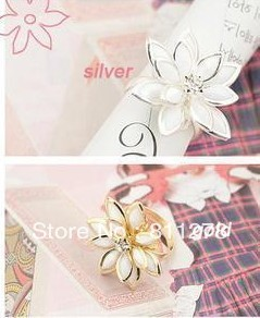 12PCS/Lot Min. order is $10(mixed) Wholesale fresh snow lotus cheap wholesale flower open finger ring(China (Mainland))
