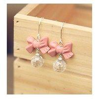 C21R6 Fashion Cute Pink Bowknot Acrylic Ball Drop Earrings