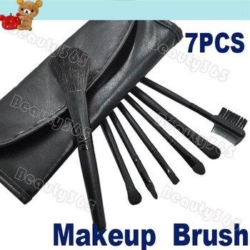 Professional 7 Pcs Makeup Brush Set Cosmetic Brushes Kit with Leather Case Wholesales 798