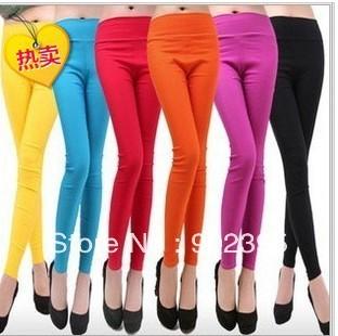 Free shipping,New women Free size ,tide waist leggings Elastic feet pencil pants, 13  colors