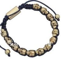 Wholesale Jewelry Retro Golden Bracelets Antique Alloy Skulls Woven Bracelet Fashion Handmade Braided Bracelet Jewlery TNL12