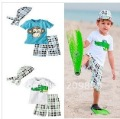2012 Summer short suits boy's monkey Crocodile Beach suit baby Kerchief + top + shorts