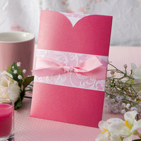 Romantic Pink Wedding Invitations With Ribbon (Set of 50) Printable and Customizable Wholesale Free Shipping