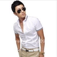 Men's clothing base 2013 New arrival Men's shirt,short sleeve slim shirt for men,two Color:white,navy,Size:M-XXL