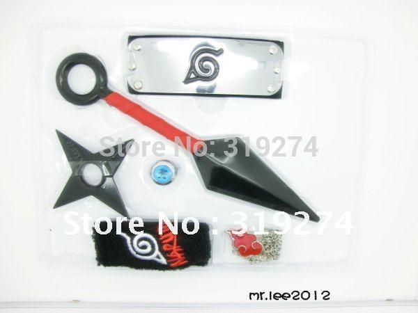 Atacado / Varejo 2014 Frete Grátis Promoção Naruto 6pcs Kit Cosplay Arma / Set Headband Kunai Faca Shuriken Anel pulseira(China (Mainland))
