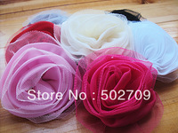 Free shipping! 8cm Fashion Quality garments brooches shoes hair onament accessories solid color mesh chiffon diy flower
