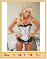 Free shipping!sexy embroidered corset, lingerie, silver flowers boned corset   !wholesale retail