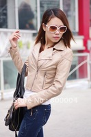 Free shipping womens pu pink biker jacket synthetic leather jacket coat