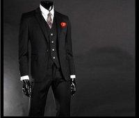 Free shipping  Single-Breasted 1- Button  Wool men`s suit/wedding suit business suit  black  (jacket + pants+vest ))