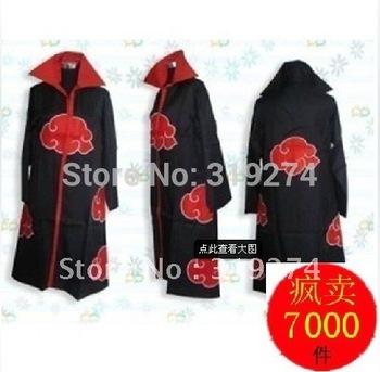 Wholesale/Retail 2012 Fashion Free Shipping FS Promotion New Anime Costumes Naruto Akatsuki Cosplay Cloak Size S M L XL XXL
