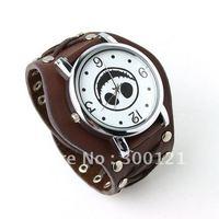Punk Gothic Ladies Women Men Gens' Genuine Brown Leather Wrist Watch