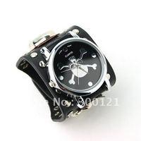 Punk Gothic Ladies Women Men Gens' Genuine Bllack Leather Wrist Watch Skull
