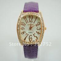 Multi Colors GOGO Crystal purple Leather strap watch women ladies fashion dress quartz wrist watch 2097