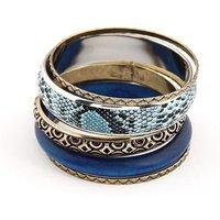 Hot Sale Vintage Style 5pcs/set Fashion Women's Bangles Jewelry Blue Color Wood Snake Skin Grain Free Ship