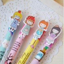 Freeshipping! cute Cartoon Kawaii girl ball pen/Korean Style Ball Pen/stationery pen / Promotion Gift /Fashion New/Wholesale(China (Mainland))