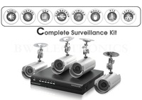 Freeshipping 4CH DVR System, Complete Surveillance Kit (H264 DVR + 4 Weatherproof Bullet Camera + 4*59FT Cables+ 500GB HDD)