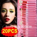 Free Shipping &Dropshipping 20 PCS Pink Professional Makeup Brush Set Cosmetic Brush + Pink Pouch Bag