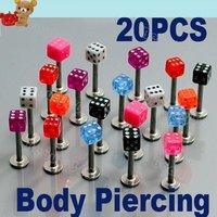 New 100pcs/Lot Fashion Dice Labrets Lip Ear Bone Bar Stud Chin Tongue Ring Body Piercing Jewelry Mixed 822