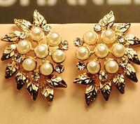 Big Promotion 11.11  Fashion  Ladies Luxury Imitation Pearl Big Leaf Stud Earring ,2013 Summer Earrings