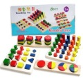 Candice guo! New arrival Montessori educational wooden toy early learning teaching toy colors and shapes cognition 8pcs a set