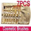 Free Shipping &Dropshipping 7 Pcs/set Professional Makeup Brush Cosmetic Brushes with Gold Leather Case 2set/lot