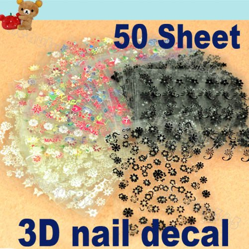 50 Sheet x 3D Design Tip Nail Art Sticker Decal Manicure Mix Color Flower Free Shipping 917(China (Mainland))