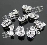 Wholesale 100pcs 8mm 0-9 slide number fit for 8mm wristband belt necklace