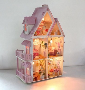 Free shipping DIY toy Large cabin house villa Alice house model,model building