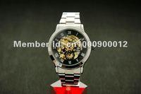 Skeleton Automatic Mechanical Black S/Steel Wrist Watch